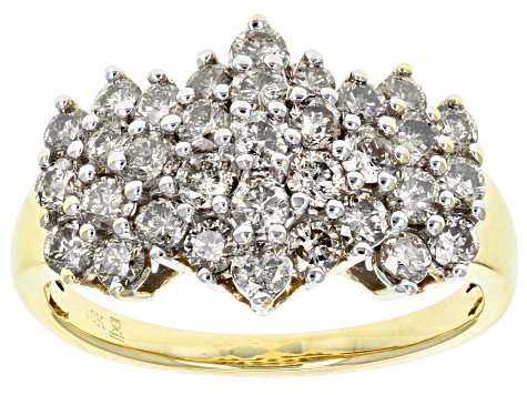 Diamond 10k Yellow Gold Cluster Ring 1.50ctw