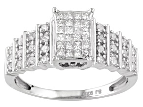 White Diamond Princess Cut And Round Silver Ring .50ctw