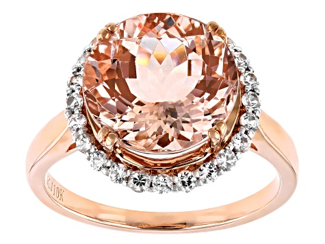 Cor-De-Rosa Morganite ™ 4.50ct Round With .42ctw Round White Sapphire 10k Rose Gold Ring