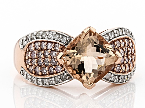 Cor-De-Rosa Morganite ™2.07ct With .20ctw White Diamond & .33ctw Pink Diamond 10k Rose Gold Ring