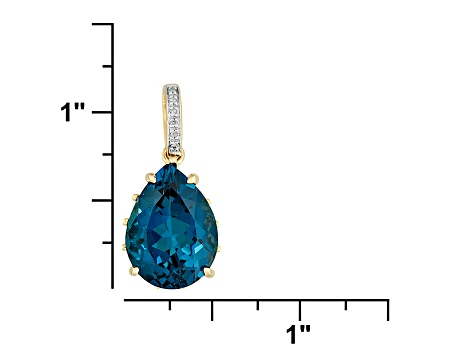 11.00ct London Blue Topaz With .02ctw White Diamond 10k Yellow Gold Pendant With Chain