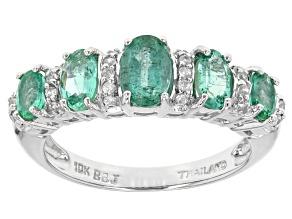 Green Zambian Emerald 10k White Gold Ring 1.18ctw