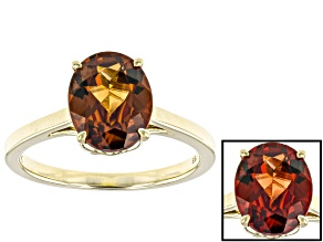 Red Color Shift Garnet 10k Yellow Gold Ring 2.61ct