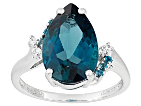 London Blue Topaz 10k White Gold Ring 4.52ctw