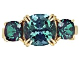Color Change Lab Created Alexandrite 10k Yellow Gold Ring 3.74ctw