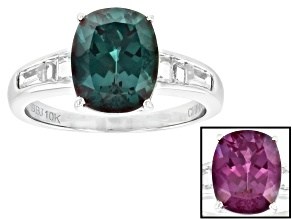 Color Change Lab Created Alexandrite 10k White Gold Ring 3.38ctw