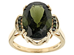 Green Moldavite 10k Yellow Gold Ring 4.06ctw