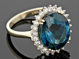 London Blue Topaz 10k Yellow Gold Ring 9.65ctw