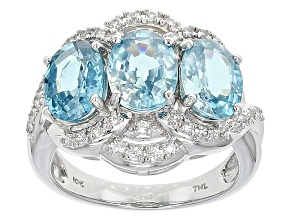 Blue Zircon 10k White Gold Ring 5.36ctw
