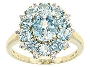 Blue Zircon 10k Yellow Gold Ring 3.52ctw