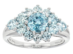 Blue Zircon 10k White Gold Ring 2.44ctw