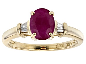 Red Burmese Ruby 14k Yellow Gold Ring 1.40ctw