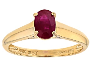 Red Burmese Ruby 14k Yellow Gold Ring .77ctw