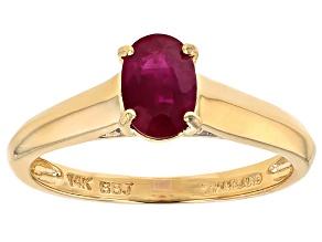 Red Burmese Ruby 14k Yellow Gold Ring .77ctw
