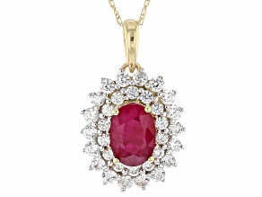 Red Burmese Ruby 14k Yellow Gold Pendant With Chain 1.69ctw