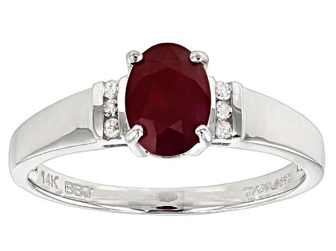 Red Burmese Ruby 14k White Gold Ring 1 04ctw