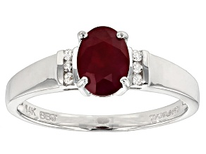 Red Burmese Ruby 14k White Gold Ring 1.04ctw