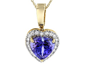 Blue Tanzanite 18k Yellow Gold Pendant With Chain 2.72ctw