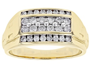 White Diamond 10K Yellow Gold Mens Ring 0.75ctw