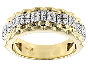 White Diamond 10K Yellow Gold Gents Ring 0.75ctw