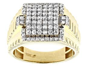 White Diamond 10K Yellow Gold Mens Ring 1.00ctw