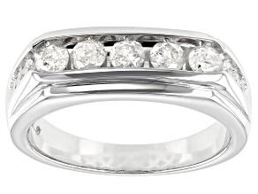 White Diamond 10K White Gold Mens Ring 1.00ctw