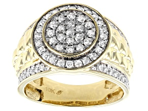 White Diamond 10K Yellow Gold Mens Ring 1.25ctw