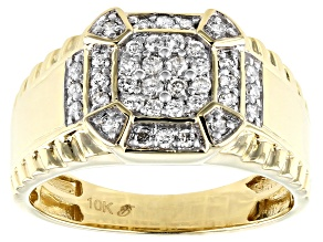 White Diamond 10K Yellow Gold Mens Ring 0.50ctw