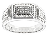 White Diamond 10K White Gold Mens Ring 0.50ctw