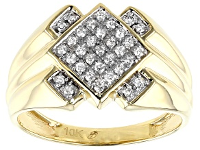 White Diamond 10K Yellow Gold Gents Ring 0.27ctw