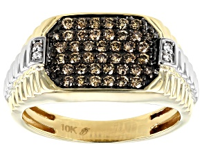 Champagne & White Diamond 10K Two-Tone Gold Mens Ring 0.62ctw
