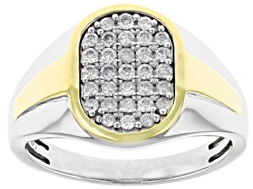 Picture of White Diamond 10K Two-Tone Gold Mens Ring 0.50ctw