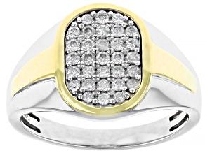 White Diamond 10K Two-Tone Gold Mens Ring 0.50ctw