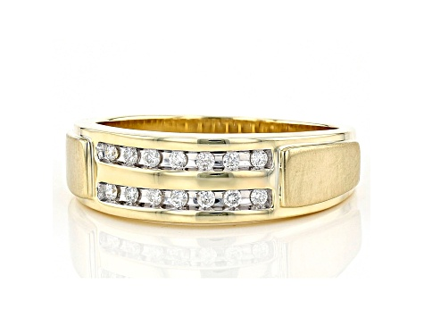 White Diamond 10K Yellow Gold Mens Ring 0.20ctw