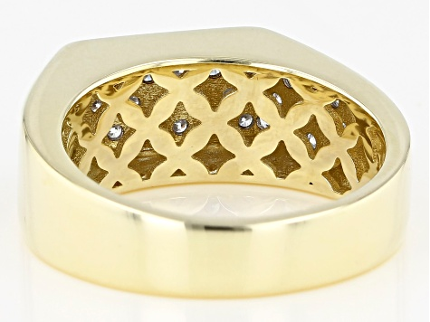 White Diamond 10K Yellow Gold Mens Ring 1.50ctw