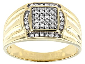 White Diamond 10k Yellow Gold Mens Cluster Ring 0.25ctw