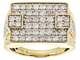 White Diamond 10K Yellow Gold Mens Ring 2.00ctw