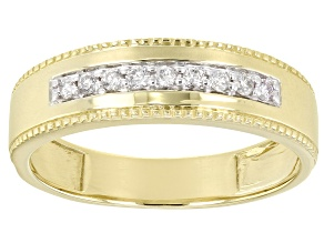 White Diamond 14K Yellow Gold Mens Ring 0.20ctw