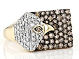 Champagne & White Diamond 10K Yellow Gold Eagle Mens Ring