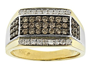 Champagne And White Diamond 10K Yellow Gold Mens Ring 1.25ctw