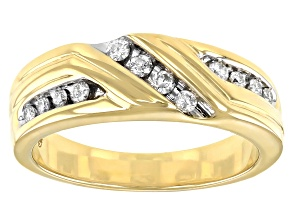 White Diamond 10k Yellow Gold Mens Band Ring 0.33ctw