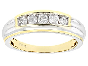 White Diamond 10k Yellow Gold Mens Band Ring 0.50ctw