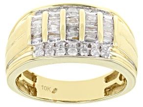 White Diamond 10k Yellow Gold Mens Wide Band Ring 0.75ctw