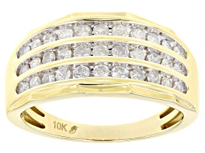 White Diamond 10k Yellow Gold Mens Multi-Row Band Ring 1.00ctw