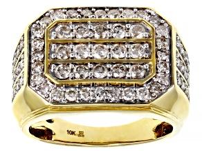 Diamond 10k Yellow Gold Mens Cluster Ring 2.00ctw