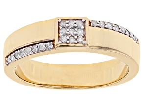 White Diamond 3k Gold Mens Cluster Ring 0.25ctw