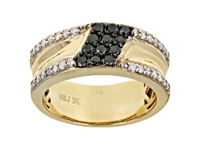 Black And White Diamond 3k Gold Mens Cluster Band Ring 0.75ctw