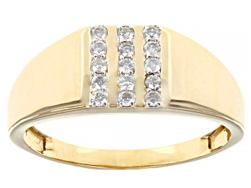 Picture of White Diamond 10K Yellow Gold Mens Ring 0.25ctw
