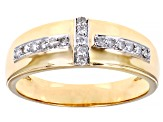 White Diamond 10K Yellow Gold Mens Ring 0.25ctw