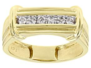 White Diamond 10K Yellow Gold Mens Band Ring 0.25ctw